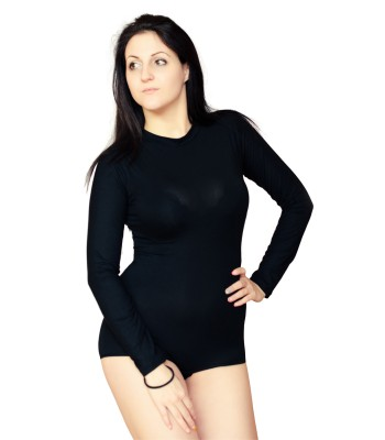Soft Leotard Bodysuit High Neck Long Sleeve Black