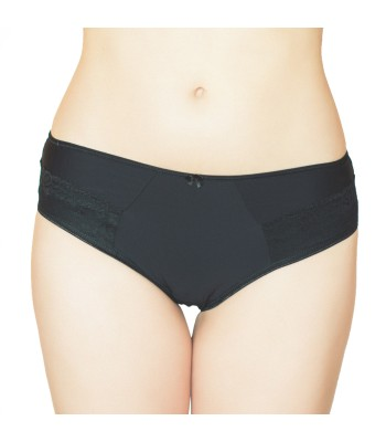Embroidered Lace Mid Waist Knickers Briefs Black 3079