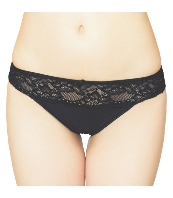 Lace Insert Knickers Briefs - Black 3091