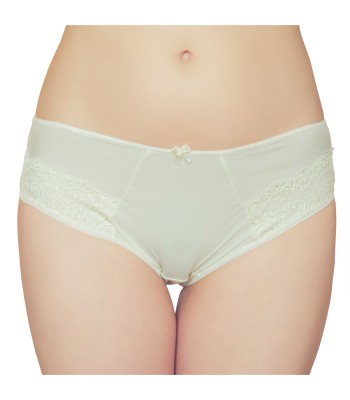 Embroidered Lace Mid Waist Knickers Briefs Champagne 3079