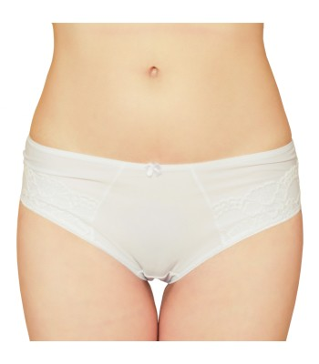 Embroidered Lace Mid Waist Knickers Briefs White 3079