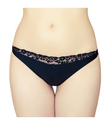 Lace Insert Thongs G-strings Black 2183