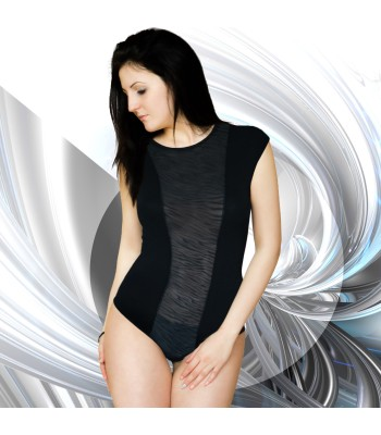 Soft Leotard Bodysuit Short Sleeve Drop Shoulder Black
