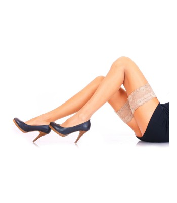 MAGIC LADY Luxury Sheer Hold-ups Stockings Lace Top with Silicone Strap 15 Denier