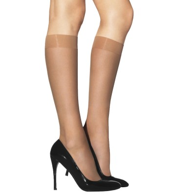 2 Pairs LAURA Semi-Opaque Knee High Pop Socks Glossy Finish 40 Denier