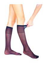 2 Pairs Pack COMFORT PLUS Sheer Knee High Socks 20 Denier Extra Elastane Wide Welt