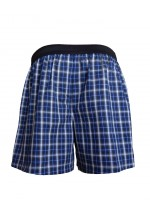 Cotton Boxer Shorts Checked Navy