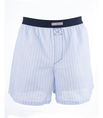 Cotton Striped Boxer Shorts Light Blue