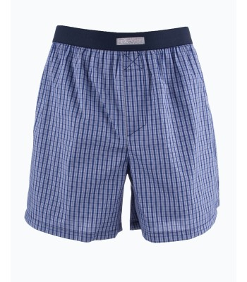 Cotton Boxer Shorts Checked  Blue