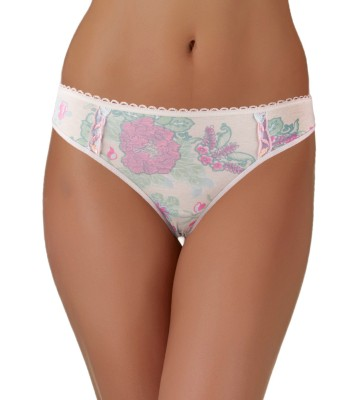 Low Rise Bikini Brief In Ecru Floral Printed
