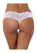 Lace Trim Thong Spotted Pink